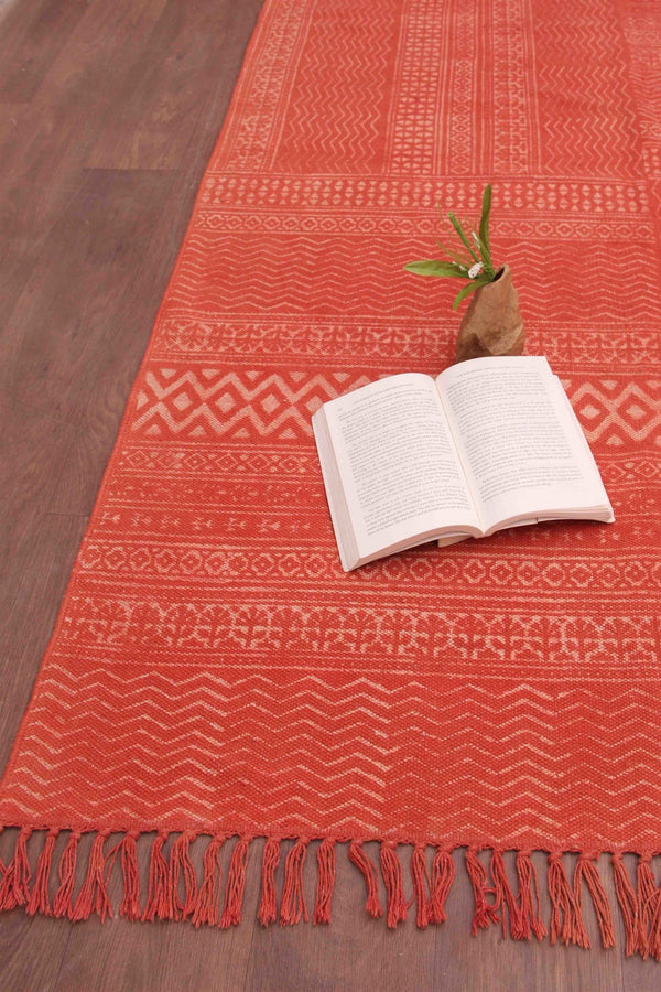 SALVAGE - DABU PRINTED RUG - ORANGE - ART AVENUE