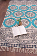 SECRET - BLOCK PRINTED RUG - BLUE - ART AVENUE
