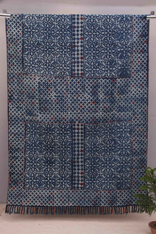 SECURE RECTANGULAR RUG - INDIGO - ART AVENUE