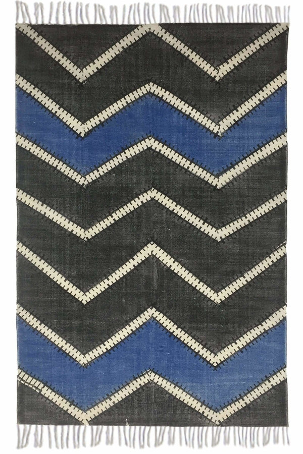 SELECTION - BLOCK PRINTED RUG - BLACK - ART AVENUE