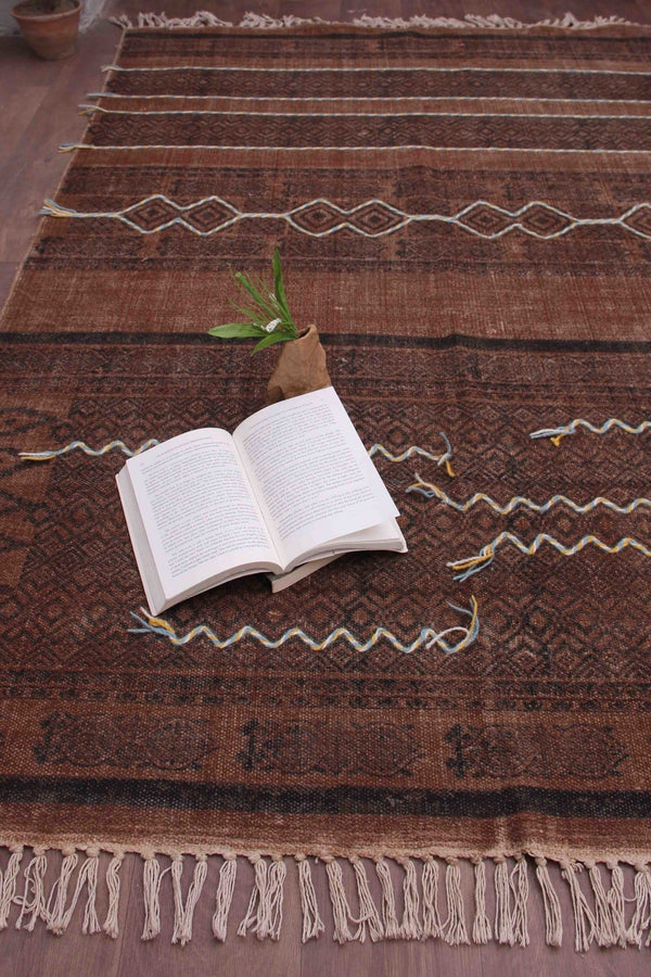 SELECTIVE - BLOCK PRINTED RUG - BROWN - ART AVENUE