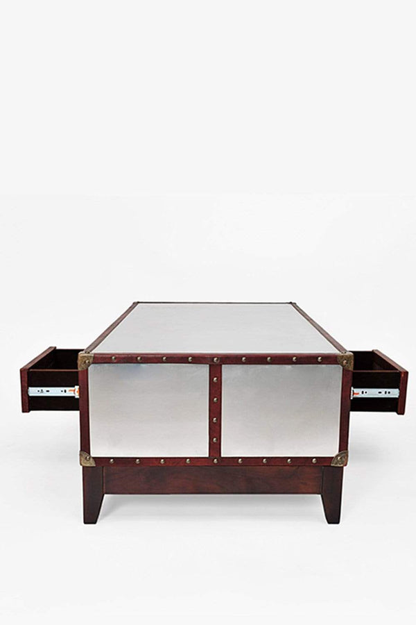 SILVER COFFEE TABLE - ALUMINIUM AND LEATHER - ART AVENUE