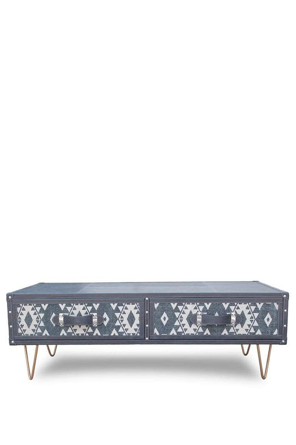 SKY COFFEE TABLE IN LEATHER WITH METAL LEGS - ART AVENUE