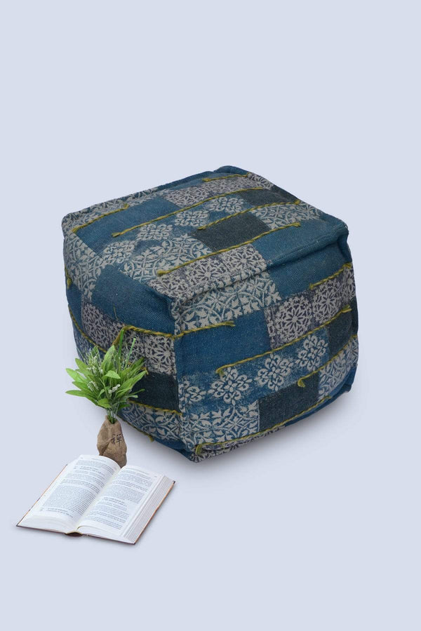 SLEPT - CUBICAL POUF-BLUE - ART AVENUE