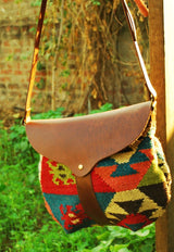 SLOPY- KILIM & LEATHER SLING BAG - ART AVENUE