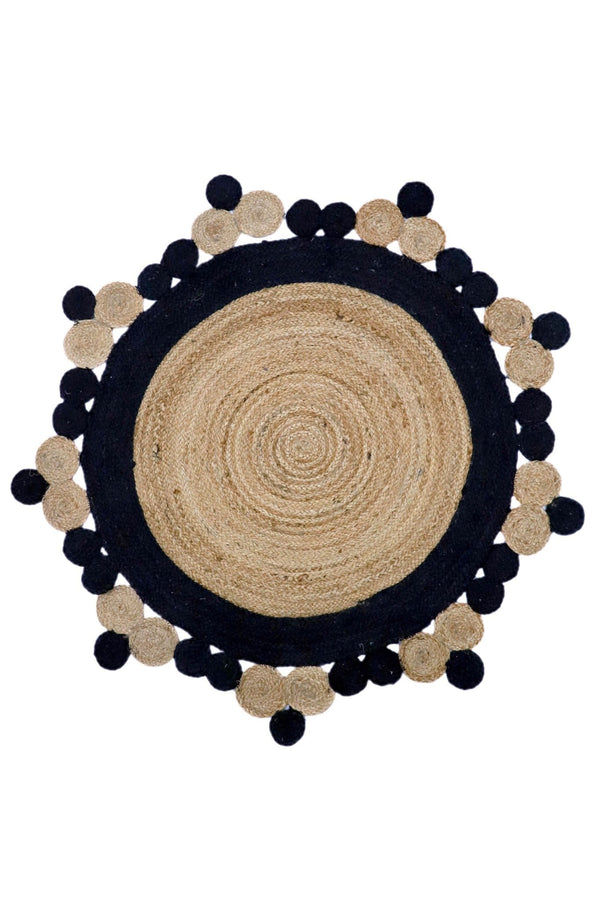 SMALLER -ROUND RUG - BLACK & NATURAL - ART AVENUE