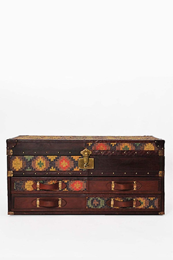 SPRINGFIELD CHEST OF DRAWERS CUM TRUNK - KILIM AND LEATHER - ART AVENUE
