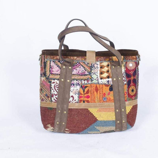 STAY - LEATHER KILIM PATCHWORK HAND BAG - ART AVENUE