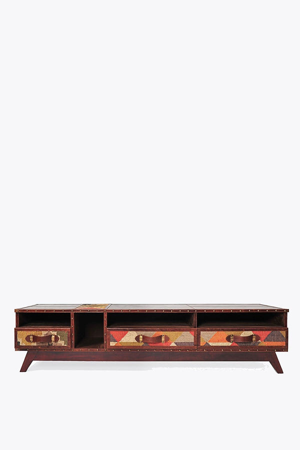 STERLING TV UNIT - KILIM AND LEATHER - ART AVENUE