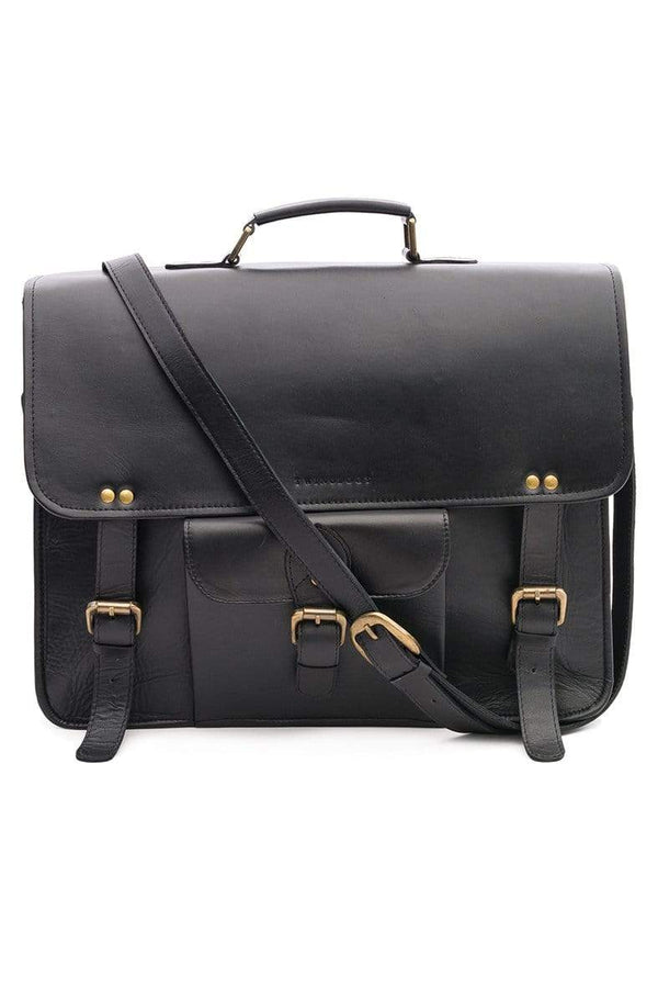 STORME - LEATHER LAPTOP BAG - BLACK - ART AVENUE