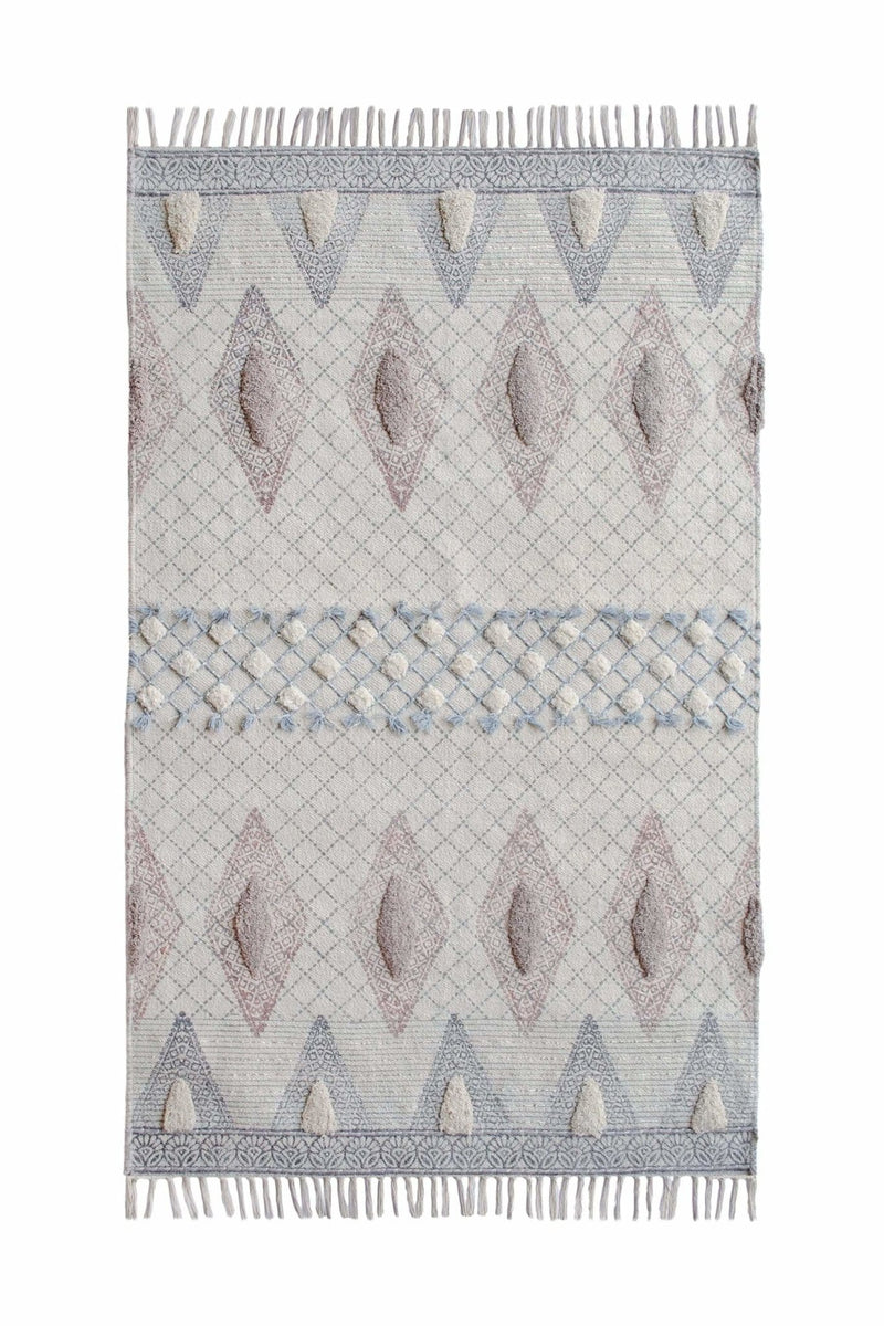 TAMPA - BLOCK PRINTED RUG - GREY - ART AVENUE