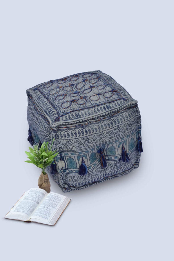 TANGLER - CUBICAL POUF-BLUE - ART AVENUE