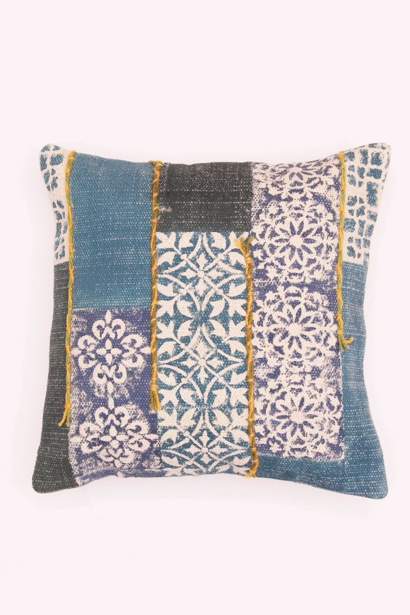 TILE - SQUARE CUSHION COVER -BLUE - ART AVENUE