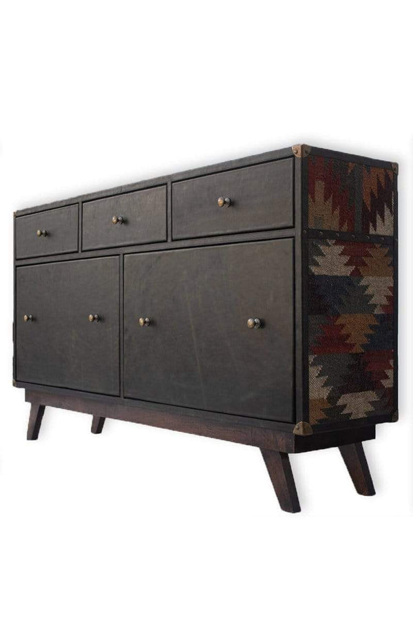 TWINO CHEST OF DRAWERS - KILIM AND LEATHER - ART AVENUE