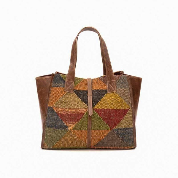 UMBRA- KILIM & LEATHER HAND BAG - ART AVENUE