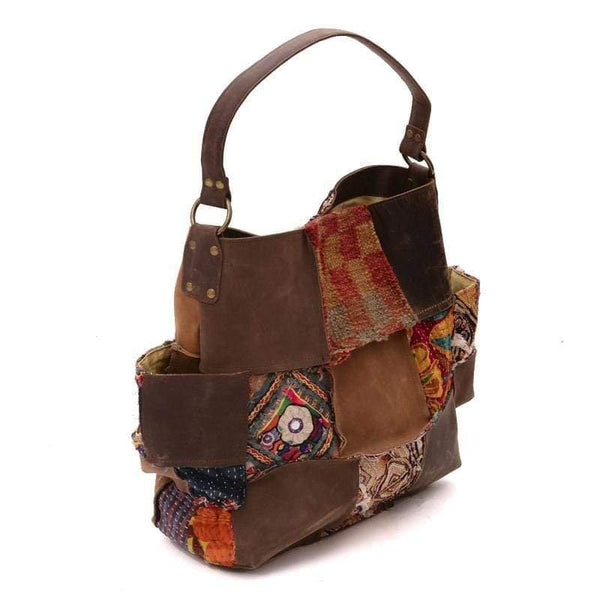 VAGATOR- VINTAGE FABRIC & LEATHER PATCHWORK HAND BAG - ART AVENUE