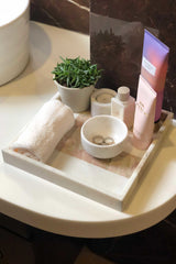 VAPOUR - MARBLE TRAY - WHITE WITH PINK PATTERN - ART AVENUE