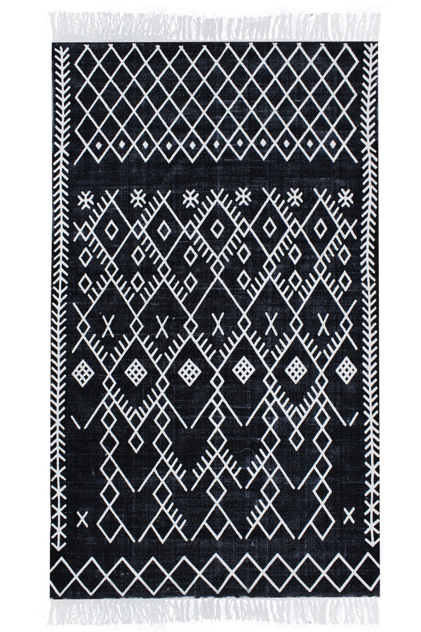 VICTORIA -BLOCK PRINTED RUG- BLACK - ART AVENUE