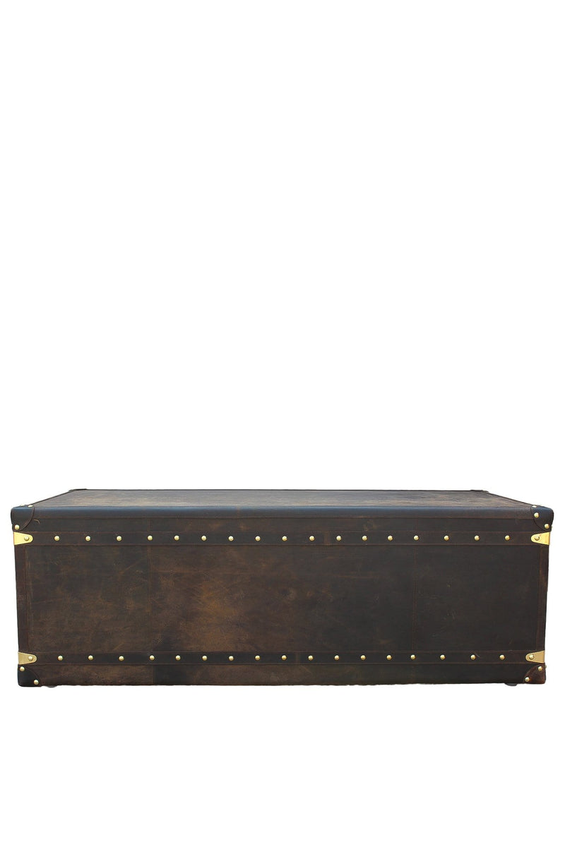 VINTAGE COFFEE TABLE IN LEATHER WITH TWO DRAWERS - ART AVENUE