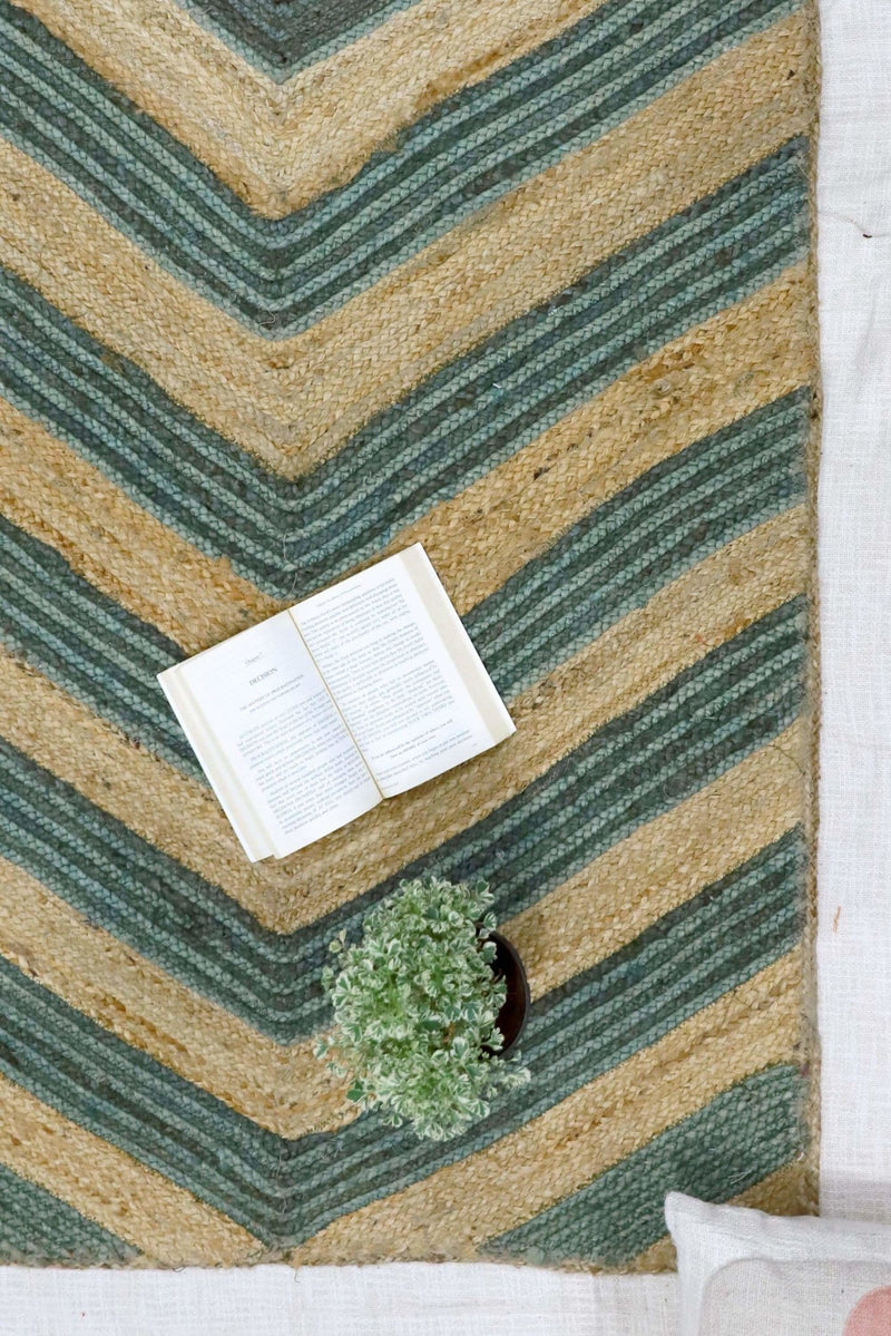 VIRGO -JUTE WOVEN RUG - BEIGE/GREEN - ART AVENUE