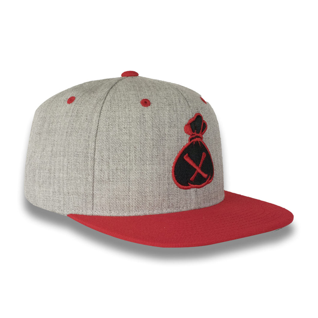 Grey & Red Money Bag (Snapback)