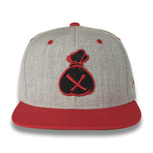 Load image into Gallery viewer, Grey & Red Money Bag (Snapback)