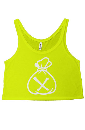 Money Bag Logo (Neon Yellow flowy boxy tank top)