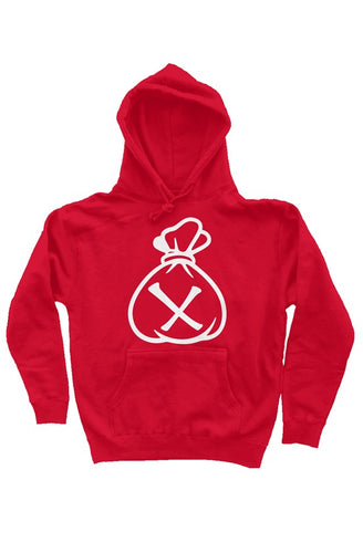 Money Bag Logo (Red Heavyweight Pullover Hoodie)