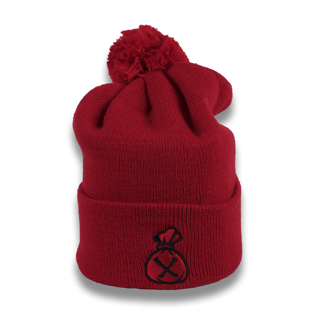 Red & Black Money Bag (Pom Beanie)