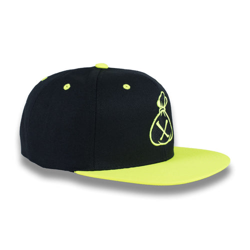 Black & Fluorescent Yellow Money Bag (Snapback)