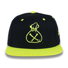 Load image into Gallery viewer, Black & Fluorescent Yellow Money Bag (Snapback)