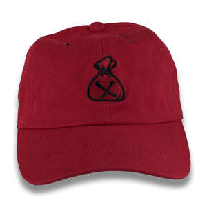 Red & Black Money Bag Dad Hat (Strapback)