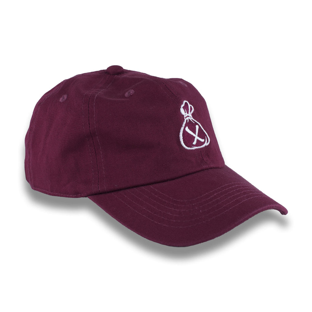 Burgundy & White Money Bag Dad Hat (Strapback)