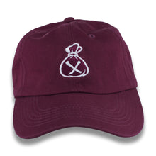 Load image into Gallery viewer, Burgundy & White Money Bag Dad Hat (Strapback)