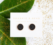 Load image into Gallery viewer, Black Glitter Studs