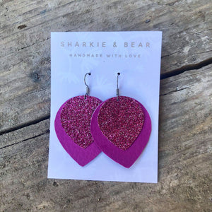 Glitter Pink Two Layered Earrings