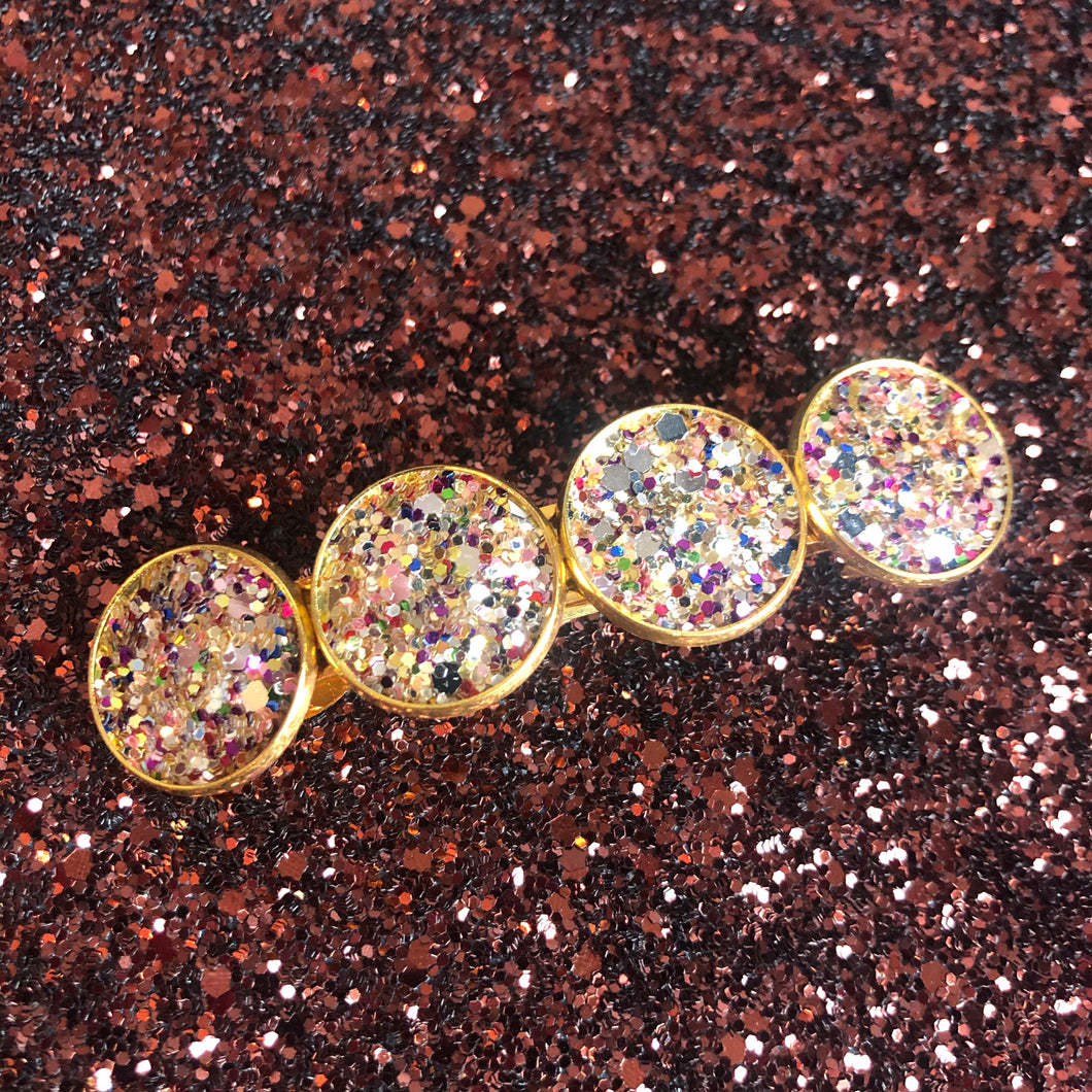 Multi-Coloured Gold Glitter Clip