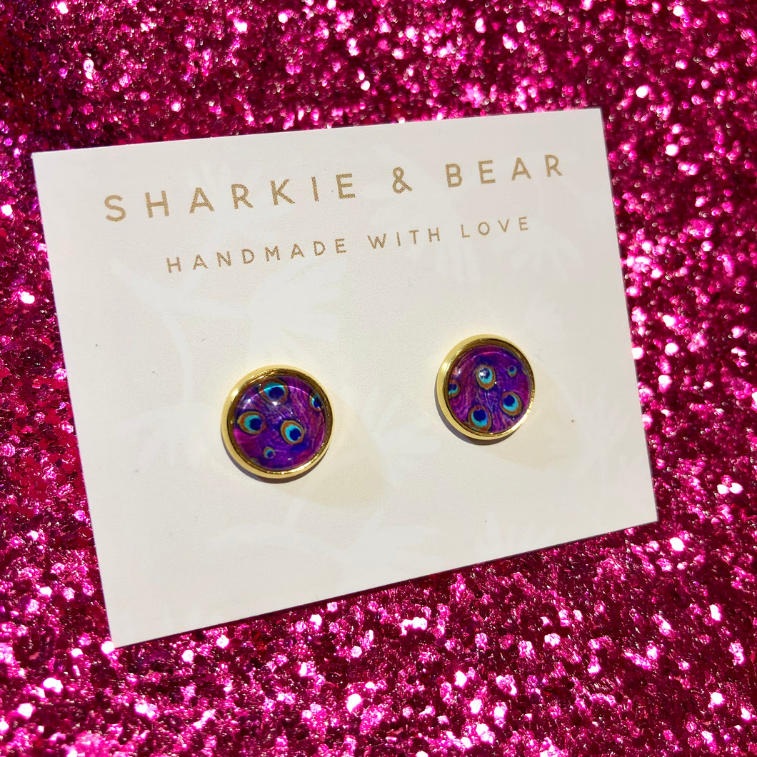 Purple Peacock Studs
