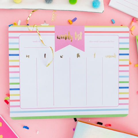 Striped Weekly List Pad Planner