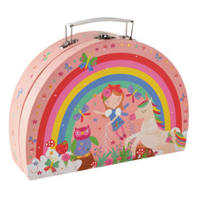 Load image into Gallery viewer, Rainbow Fairy Tin Tea Set is Semi Circle Foiled Case