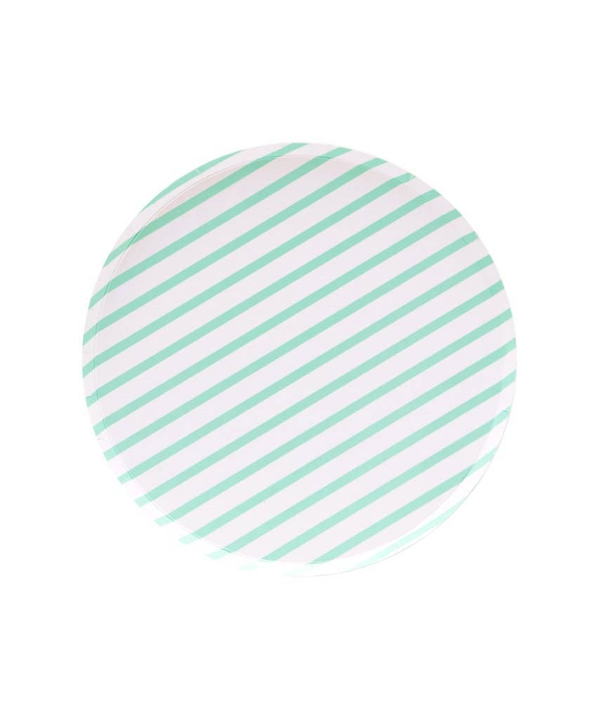 Mint Stripes Plate - 9 inch