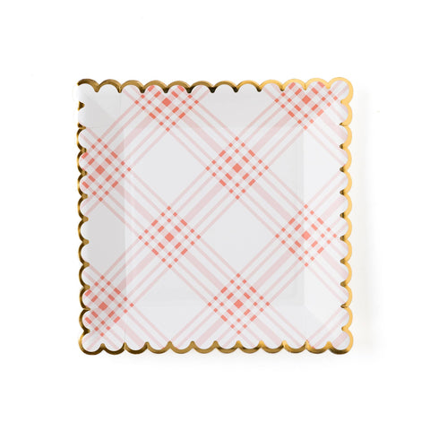 "Garden Party 9"" Scalloped Plaid Plate"