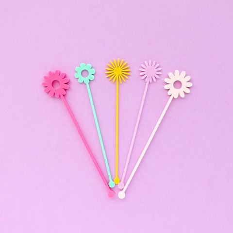Flower Power Drink Stir Sticks