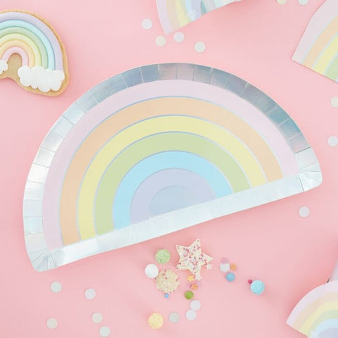 Pastel and Iridescent Paper Rainbow Plates