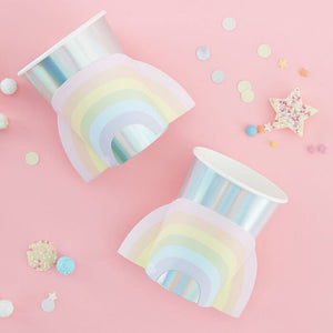 Pastel and Iridescent Paper Rainbow Cups