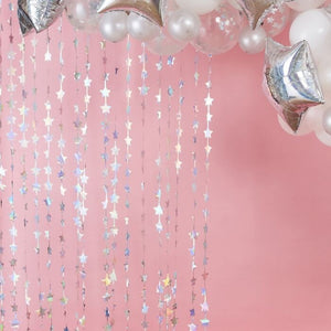 Iridescent Star Foil Curtain Backdrop