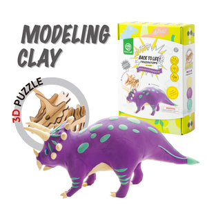 DIY Wood and Clay Model Triceratops