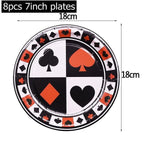 Black Red Heart Poker Themed Party Magic Show Casino Poker Party Decoration Kids Birthday Party Disposable Tableware Supplies