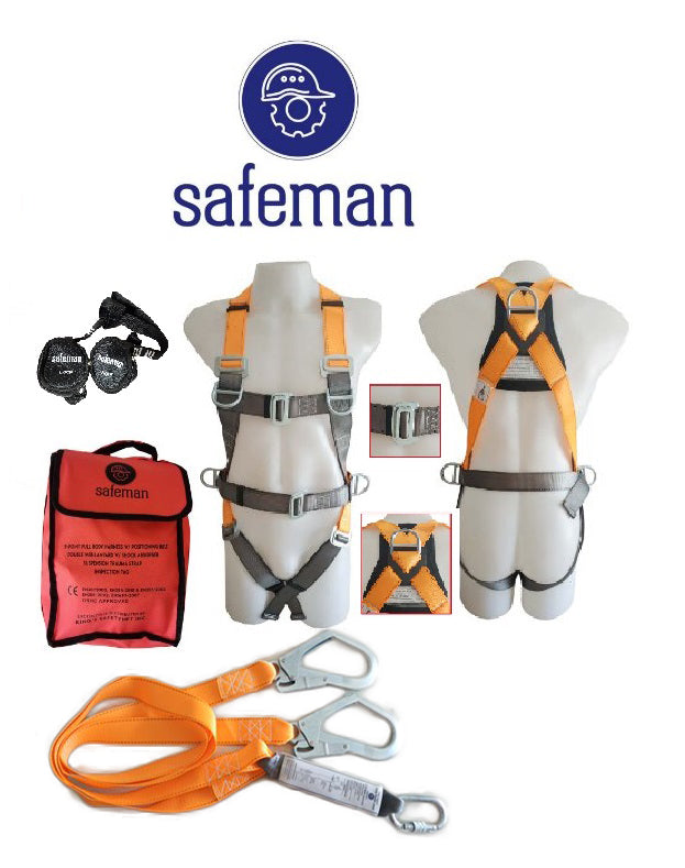 SM500-Safeman Basic Fall Protection Set, 5-point Full Body Harness with Energy Absorbing Lanyard