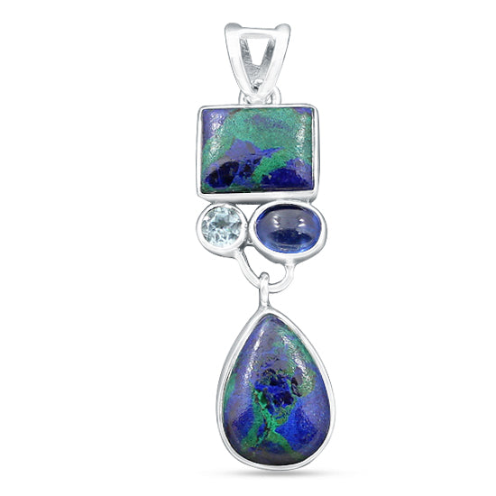 Gorgeous Azurite Pendant Handmade Multi Stone Pendant 925  Sterling Silver